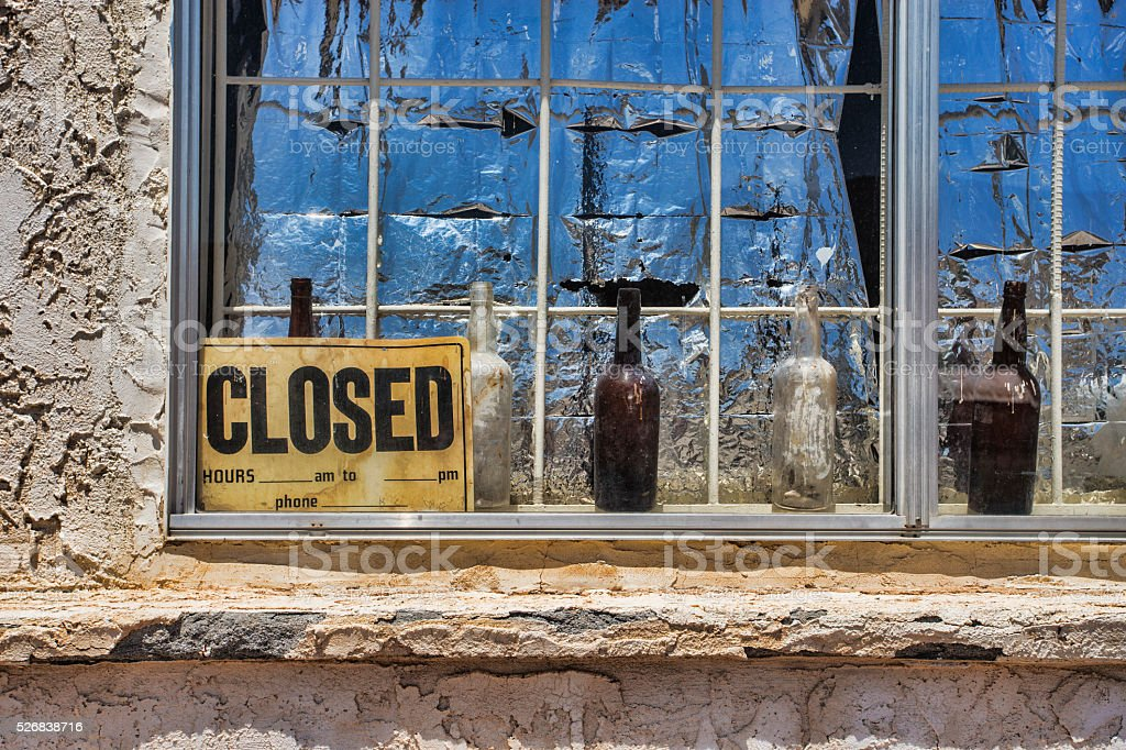 Beer Bottles and Closed Sign stock photo