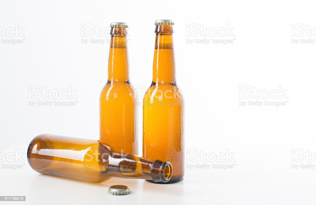 Beer Bottles on a white background. stock photo