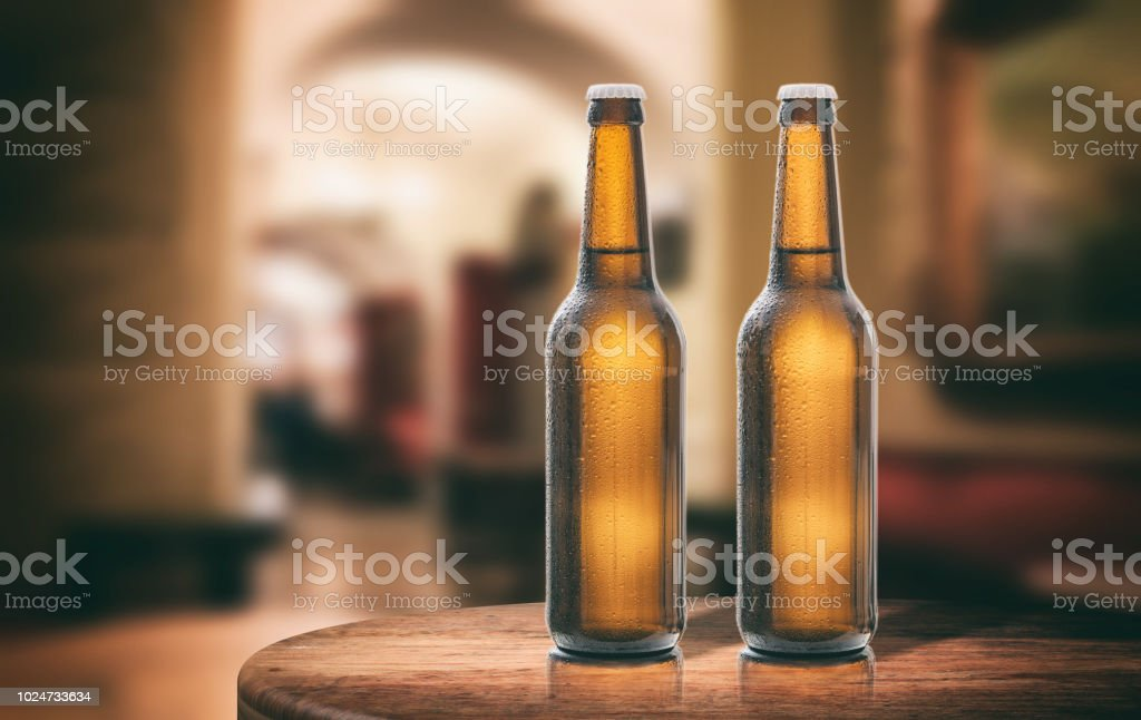 Astonishing Beer Bottles On A Wooden Table Abstract Bar Background 3D Home Interior And Landscaping Pimpapssignezvosmurscom