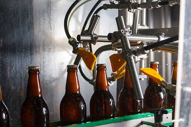 beer bottles on the conveyor belt - bottling plant stock photos and pictures