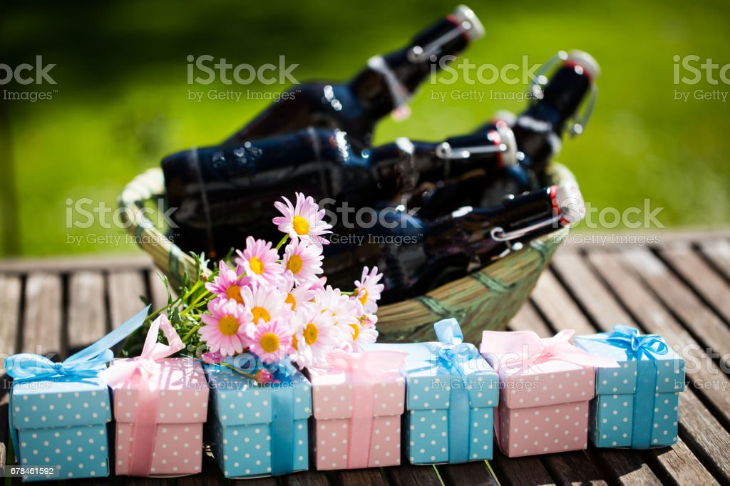 Beer bottles with small gifts before, Father's Day, Father's Day gift, symbolic royalty-free stock photo