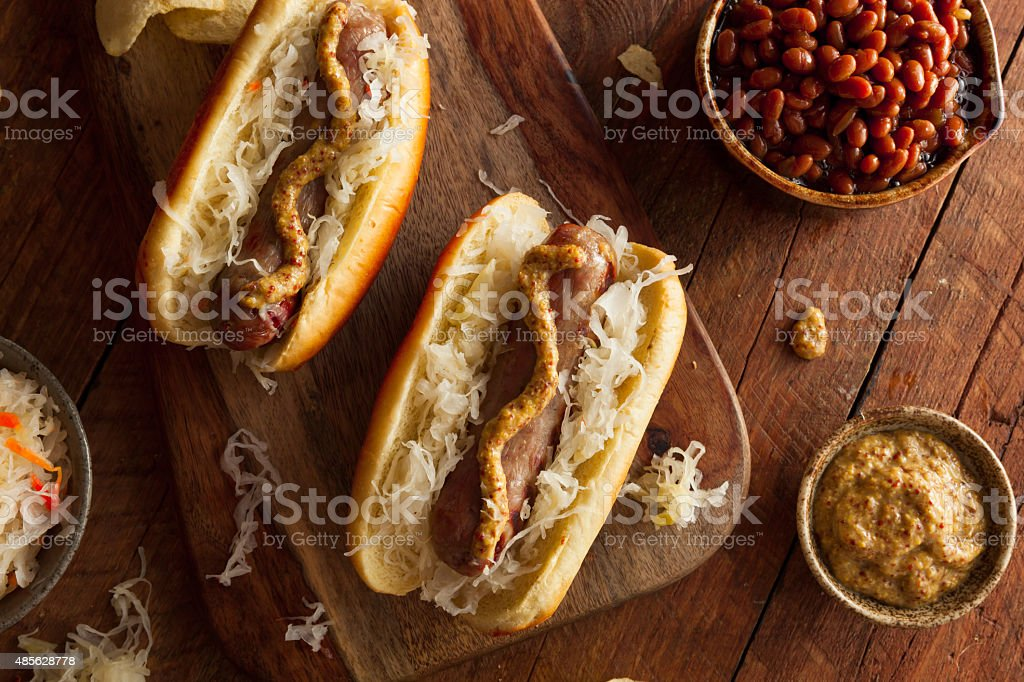 Beer Bratwurst with Sauerkraut bildbanksfoto