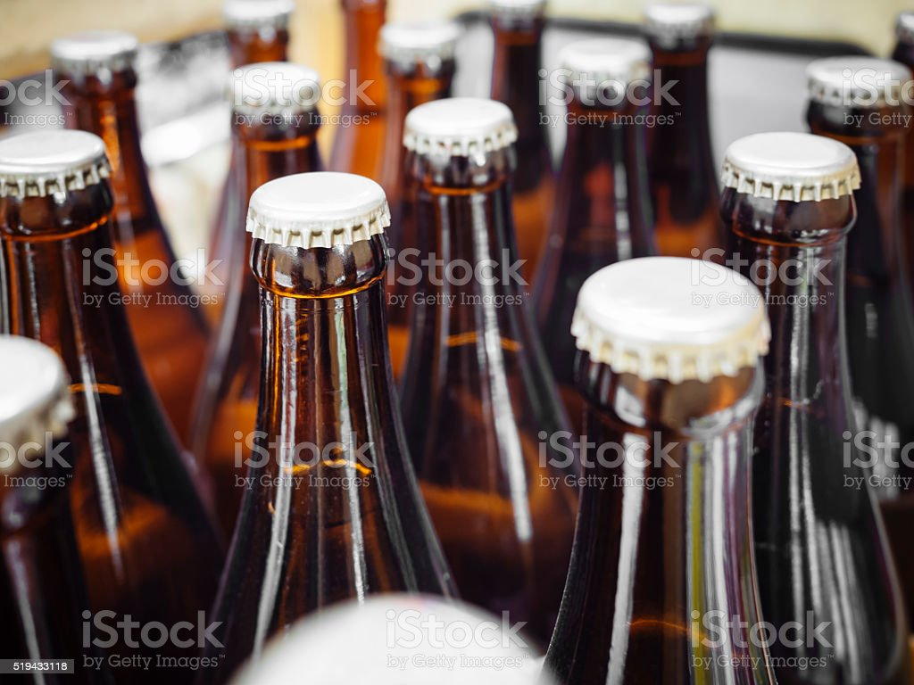 Beer Breweries packaging Bottles with cap stock photo