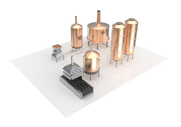 Beer brewing process, production, brewery production stock photo