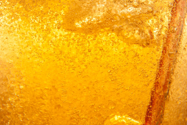 Beer bubbles in the high magnification and close-up. stock photo