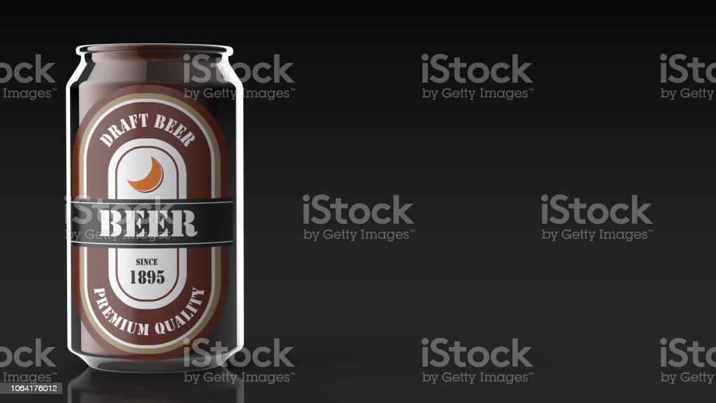 beer can black background left 3d rendering stock photo