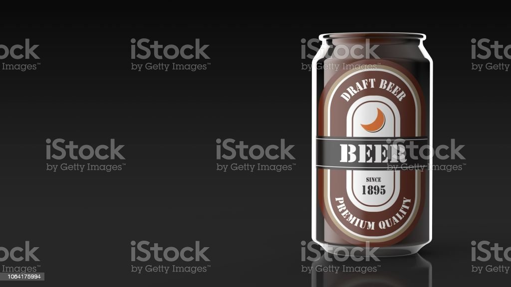 beer can black background right 3d rendering stock photo
