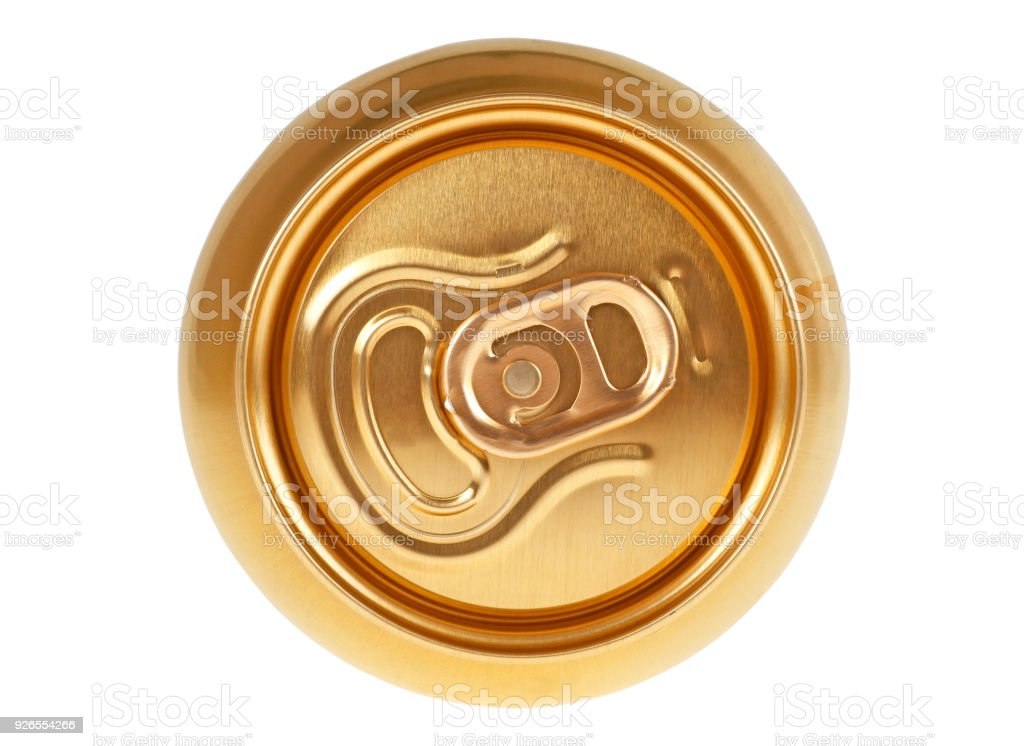 Beer can on a white background, top view stock photo