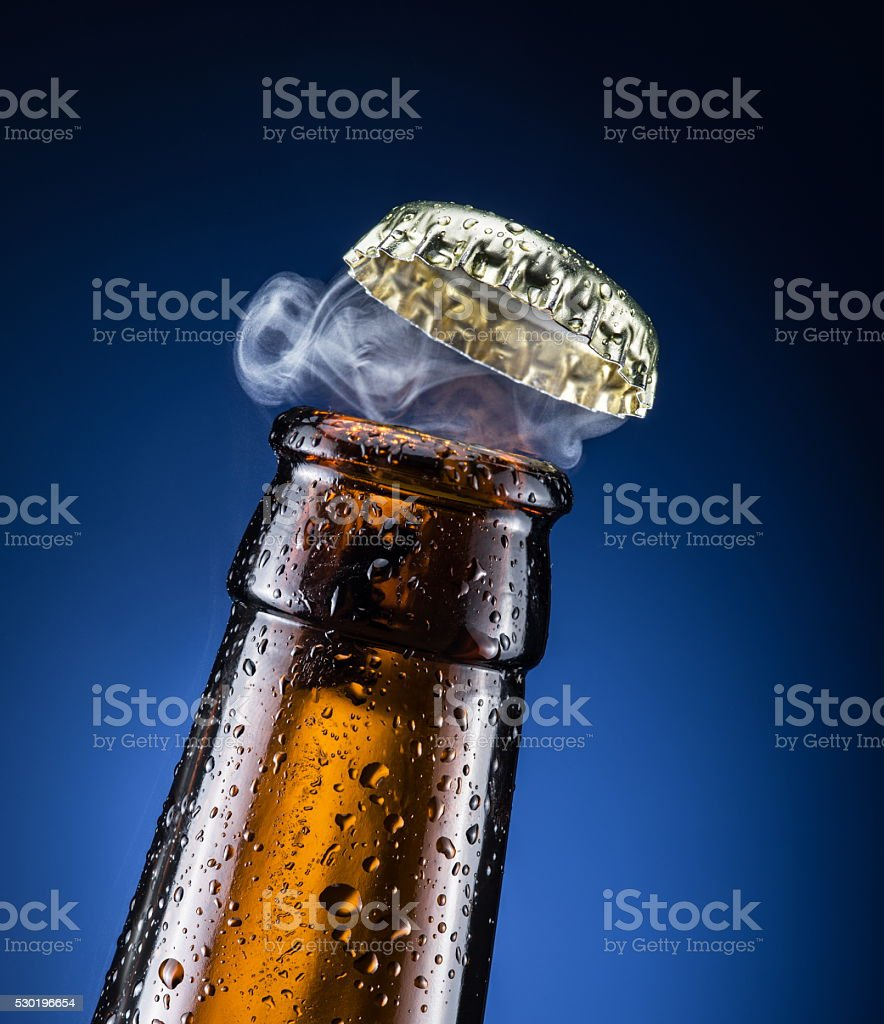 Beer cap with the gas output. stock photo