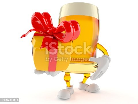 istock Beer character holding gift 865742314