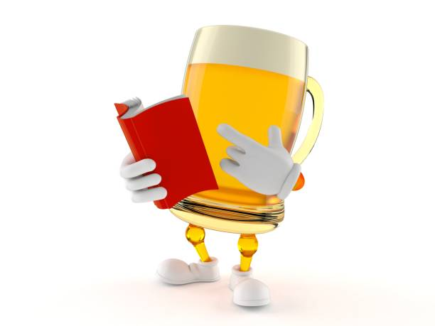 Beer character reading a book - foto stock