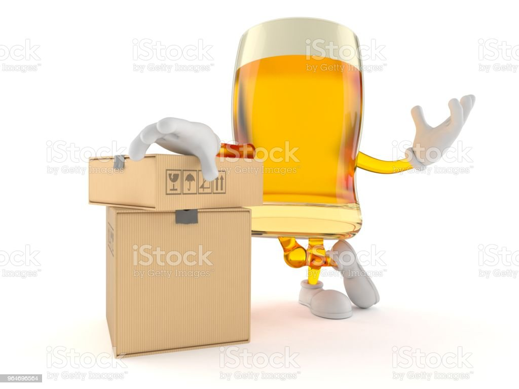 Beer character with stack of boxes royalty-free stock photo