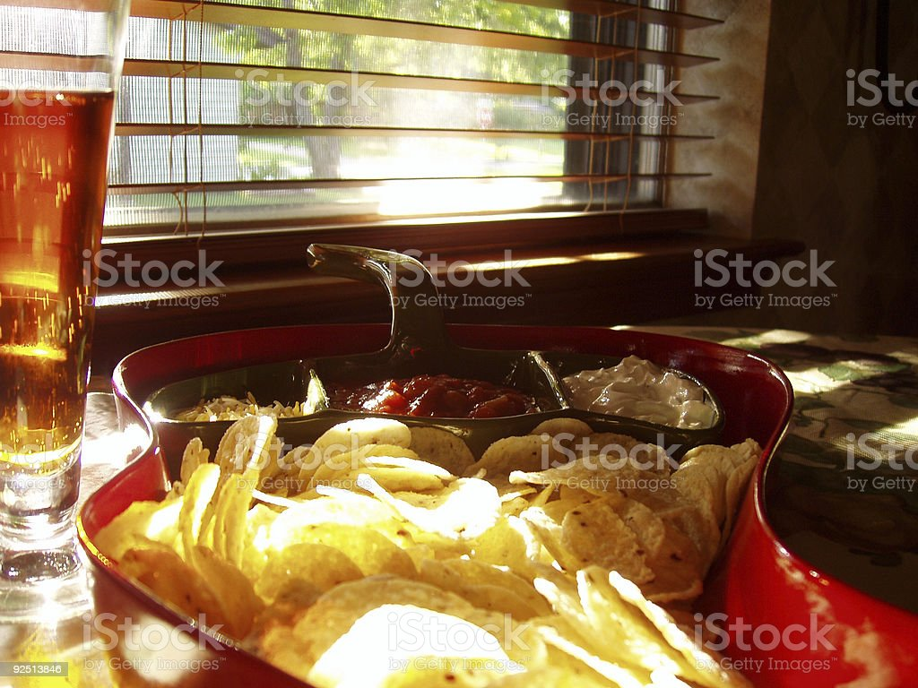 Beer, chips & salsa royalty-free stock photo
