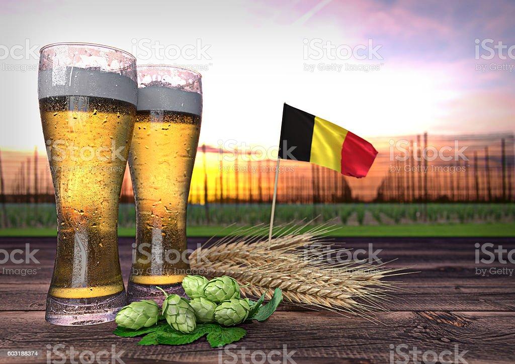beer consumption in Belgium. 3D render stock photo