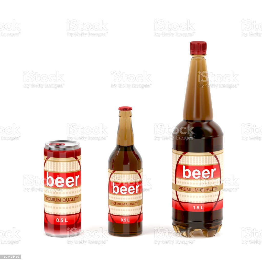Beer containers on white background stock photo