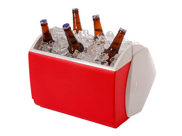 Beer Cooler Ice cooler with beer bottles. (clipping path)Similar Images. cooler container stock pictures, royalty-free photos & images
