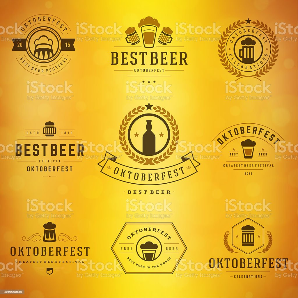 Beer festival Oktoberfest labels, badges and logos set stock photo