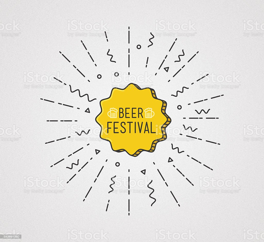 Beer festival shining banner, colorful background in flat style stock photo