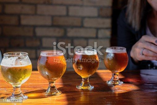 istock beer flight at brewery 1185771349