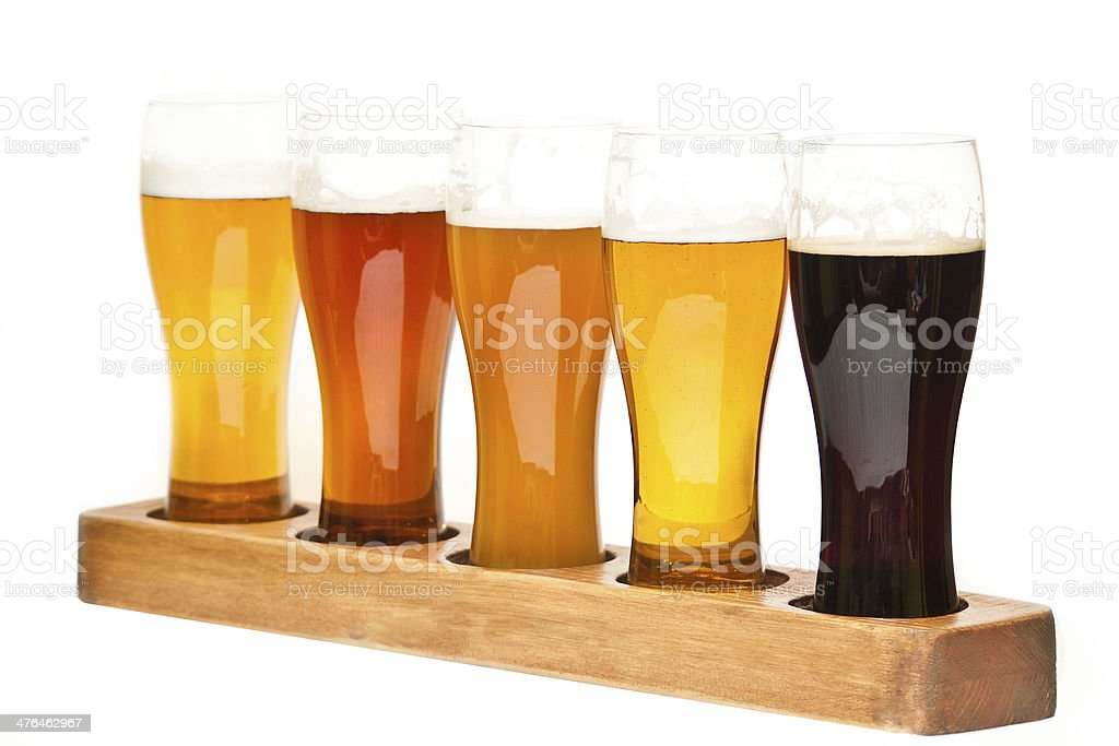 Beer Flight. Isolated on white stock photo