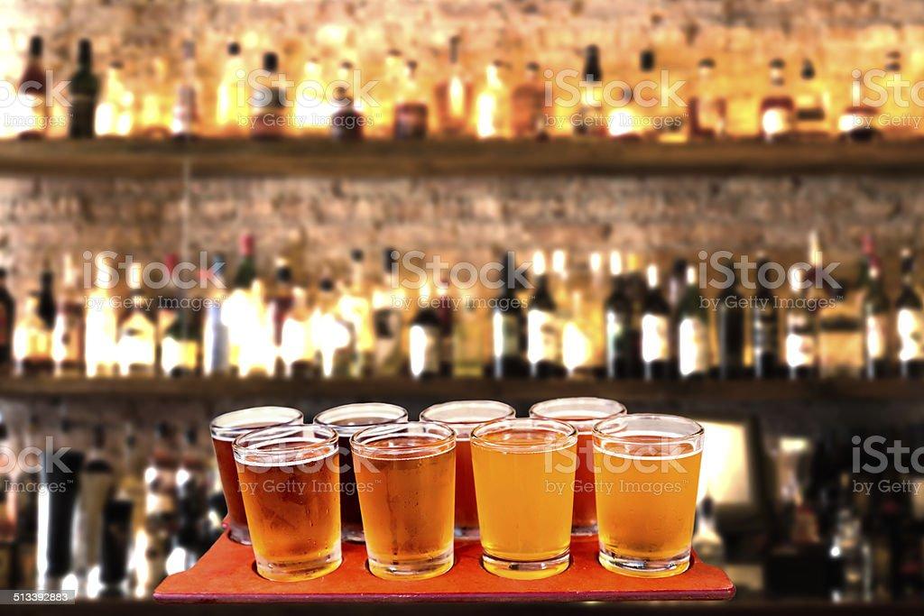 beer flight stock photo