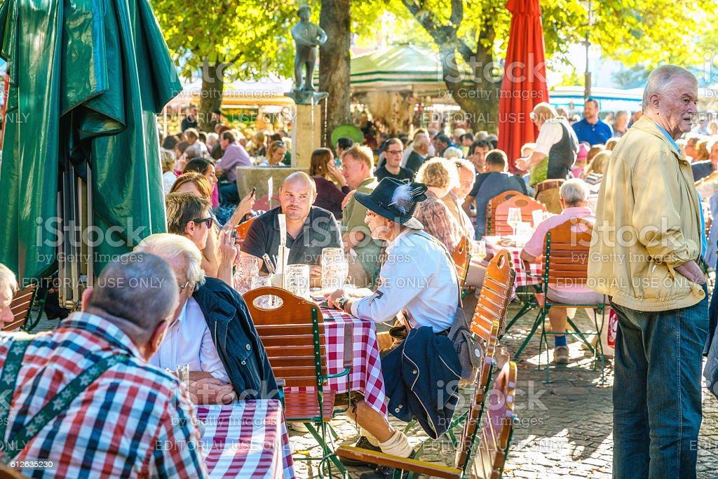 Beer garden in Munich, Bavaria, Germany stock photo
