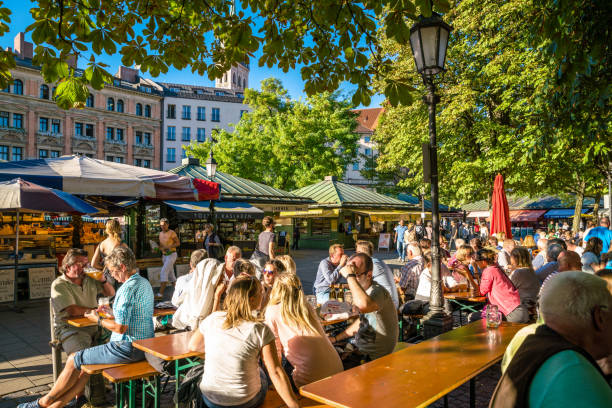Beer garden in Munich, Bavaria, Germany stock photo