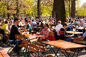 Munich, Germany - April 14, 2018: People drinking at the Hirsch Biergarten, one of the biggest and most traditional biergarten in Munich and popular with locals as well tourists.