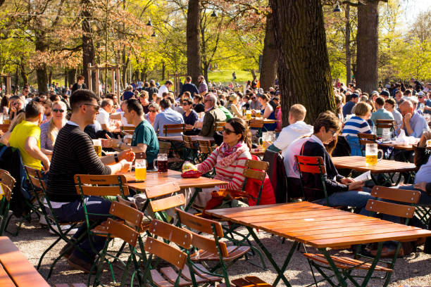 Biergarten in Munich, Germany stock photo