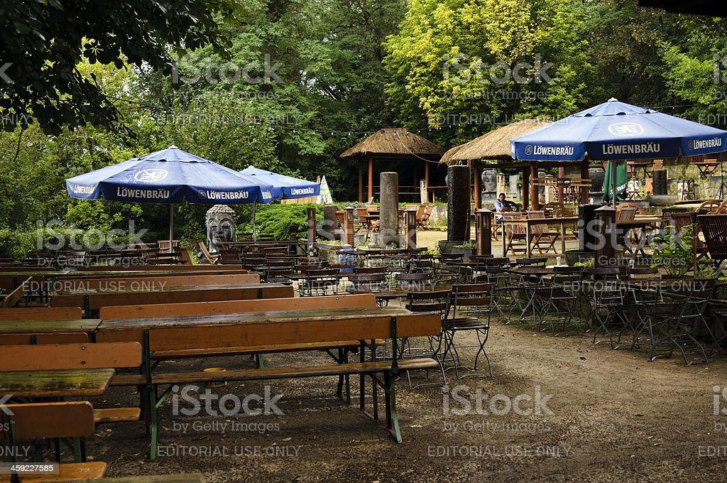 Beer garden in the rain stock photo