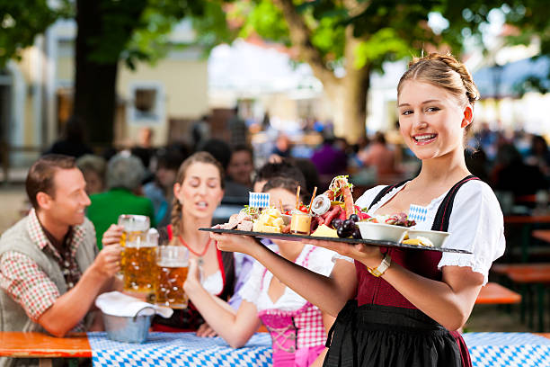 Beer garden restaurant stock photo