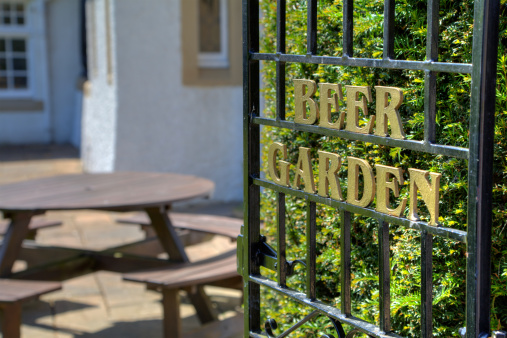 Sign on the gate leading to the beer garden in a British pub