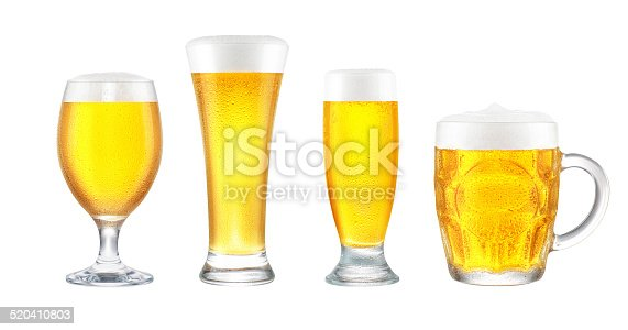 Design-ready beer glass collection.  Includes chalice, pilsner, mini, and mug.  Isolated on pure white, no shadow.