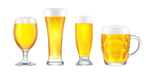 Beer Glass Collection Design-ready beer glass collection.  Includes chalice, pilsner, mini, and mug.  Isolated on pure white, no shadow. lager stock pictures, royalty-free photos & images