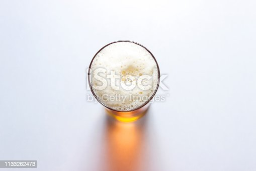 beer glass isolated on white background, top view.