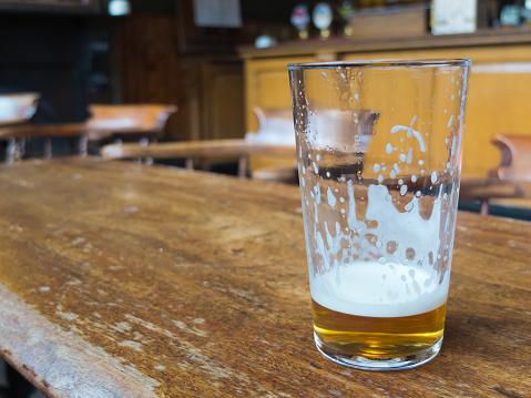 beer glass on bar table