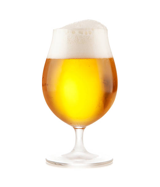 Beer glass on white background stock photo