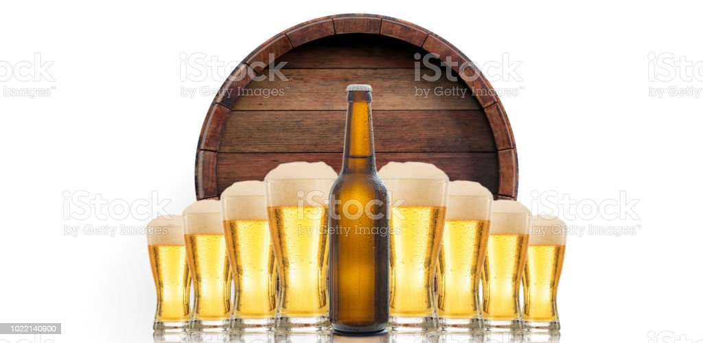Beer glasses and a bottle on white background. 3d illustration stock photo