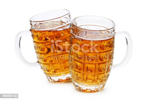 Beer Glasses Isolated On The White Background Stock Photo & More Pictures of Alcohol
