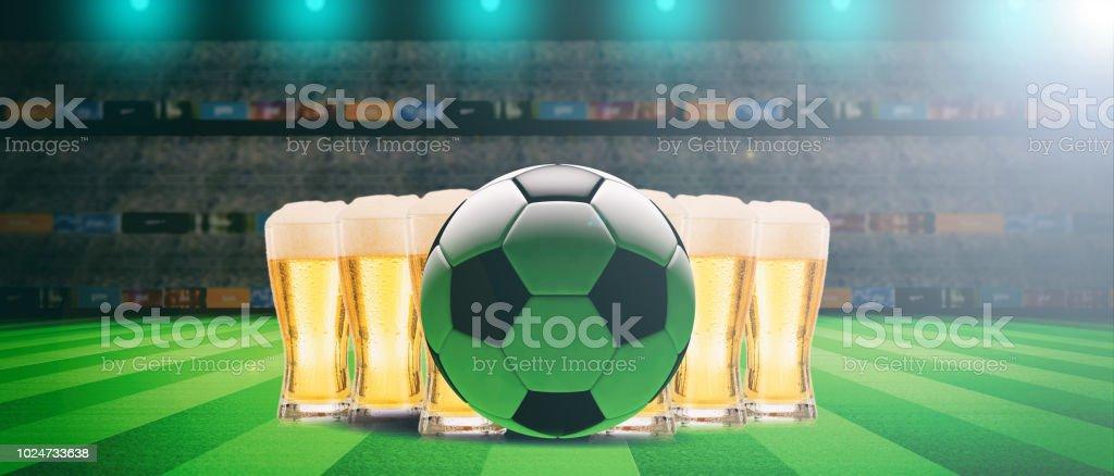 Copos de cerveja em um futebol bola fundo de campo. ilustração 3D - foto de acervo