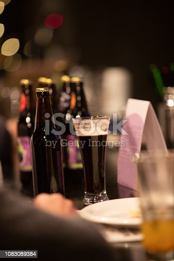 913660896 istock photo Beer glasses with dark beer are on the bar counter 1083089384