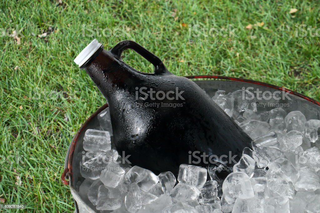 Beer Growler in Ice Bucket stock photo