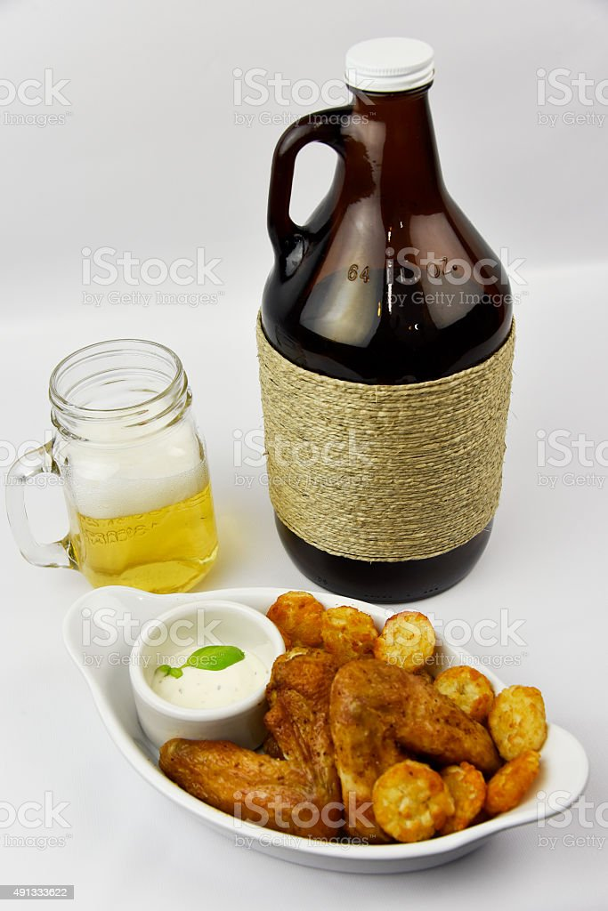 Beer Growler with Chicken stock photo