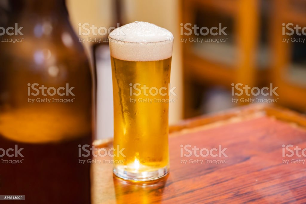 A beer in a bar stock photo