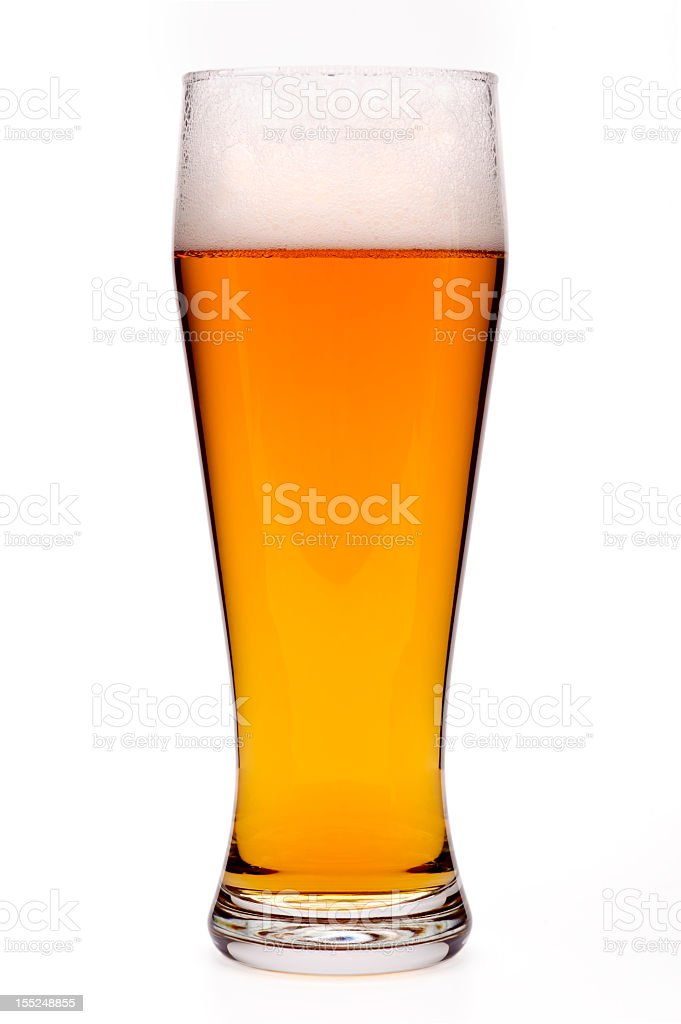 Beer in a glass, isolated, white background royalty-free stock photo
