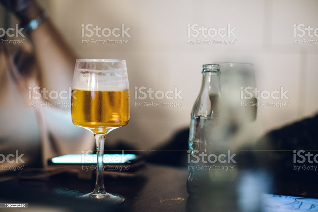 beer in a glass stock photo