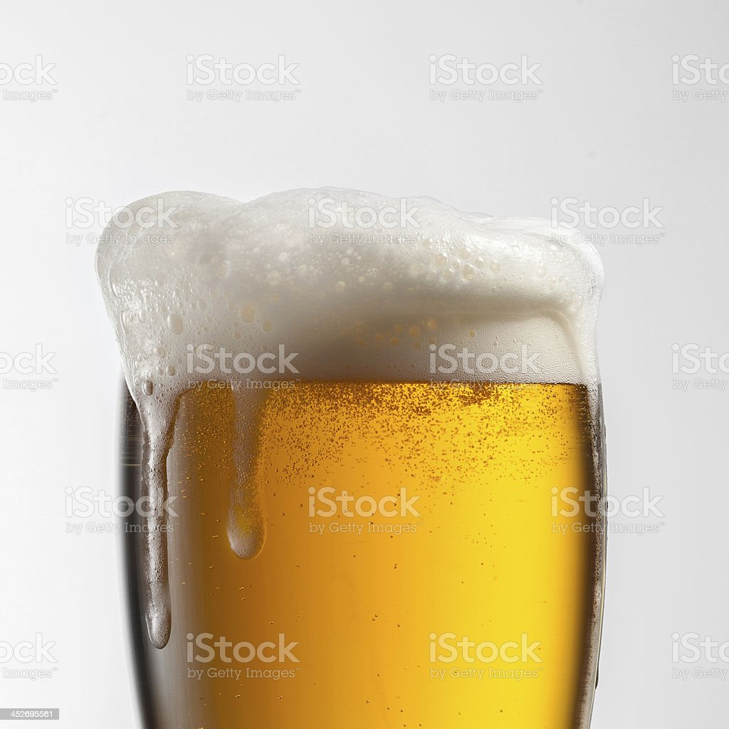 Beer in glass isolated on white background stock photo