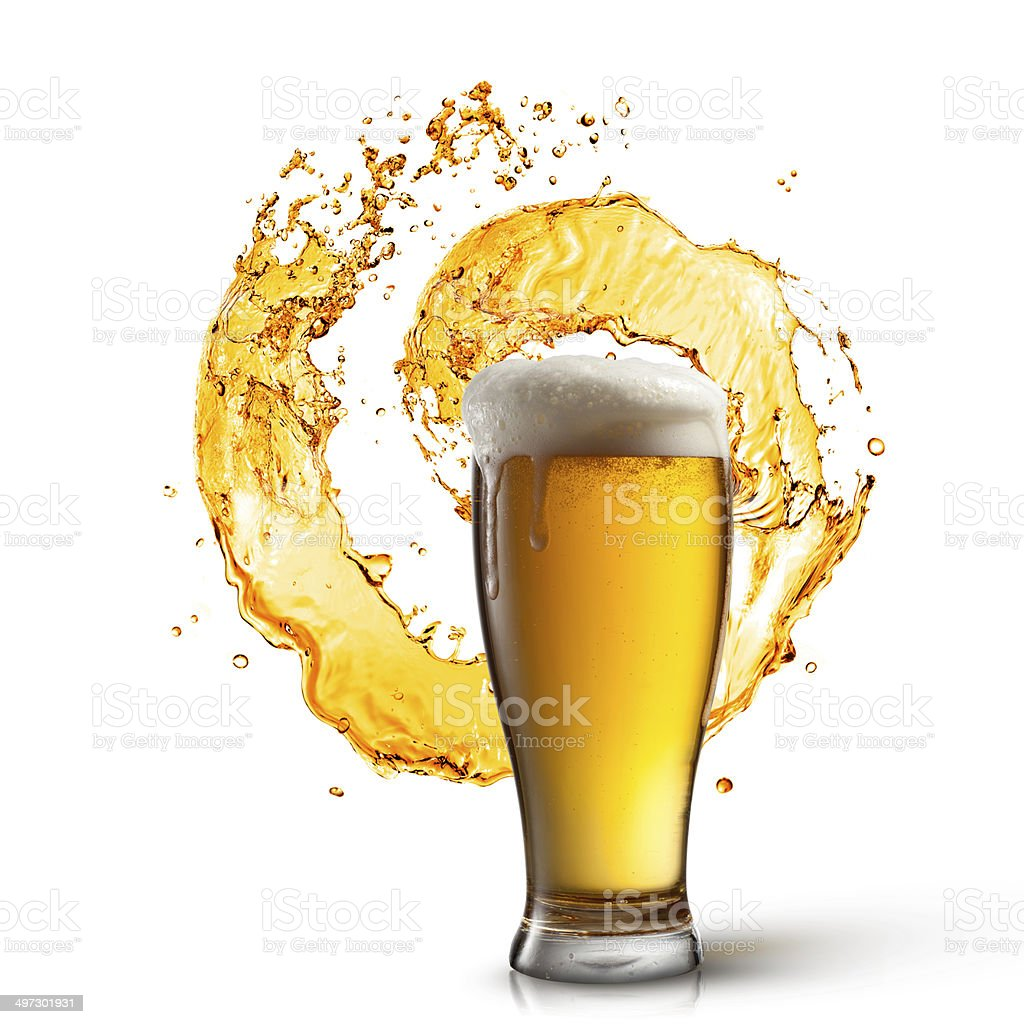 Beer in glass with splash isolated on white stock photo