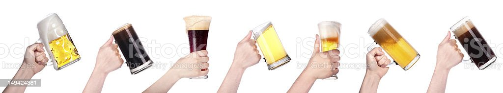 beer in hand collection isolated stock photo