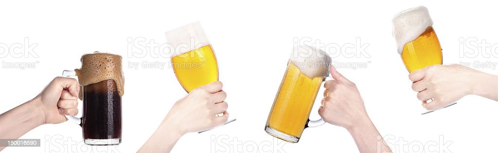 Colección de cerveza en mano aislado - foto de stock